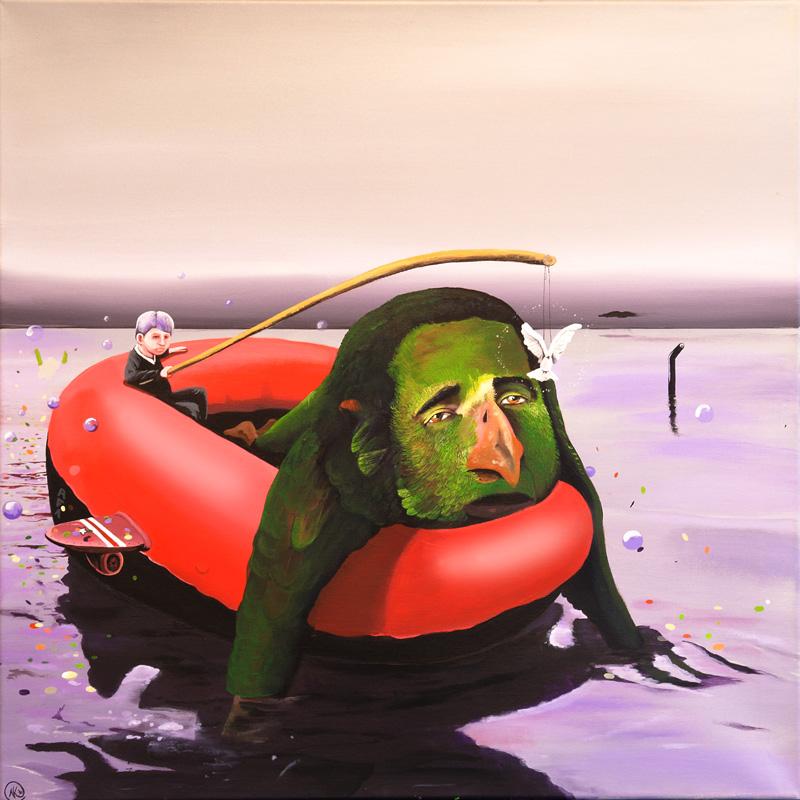 Schlauchboot-Erschöpfung